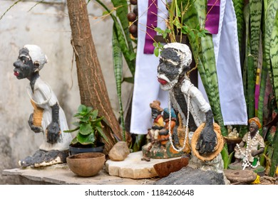 Religious altar of Umbanda, religion of African origin popular in Brazil