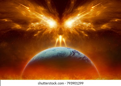 Religious apocalyptic background - judgment day, end of world, complete destruction of planet Earth, absolute evil, forces of evil destroy humanity. Elements of this image furnished by NASA