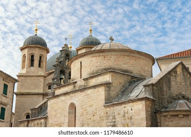 Religious architecture . Montenegro.  Old Town of Kotor, UNESCO-World Heritage Site. Domes of church of St Luke and church of St Nicholas