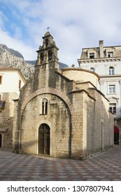 Religious architecture. Montenegro, Old Town of Kotor, UNESCO-World Heritage Site.  Church of St Luke