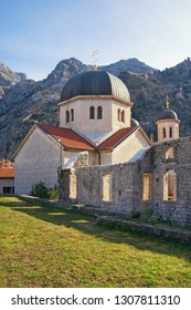 Religious architecture. Montenegro, Old Town of Kotor, UNESCO-World Heritage Site.  Orthodox Church of St. Nicholas, view from Town Wall