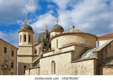 Religious architecture. Montenegro.  Old Town of Kotor, UNESCO-World Heritage Site. Domes of church of St Luke and church of St Nicholas
