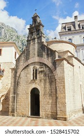 Religious architecture. Montenegro, Old Town of Kotor, UNESCO-World Heritage Site.  View of Church of St Luke on sunny autumn day