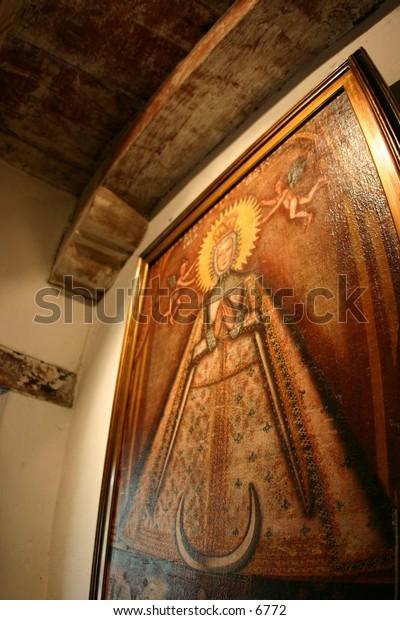 religious artwork of a woman