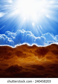 Religious background - blue sky with bright sun, dark red clouds, heaven and hell