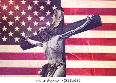 Religious Concept, Christianity in United States of America with Jesus Christ Crucifixion against USA Flag, Retro Toned Effect