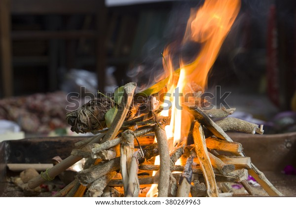 religious fire for hindu rituals