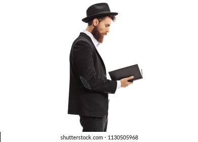 Religious man reading a book isolated on white background