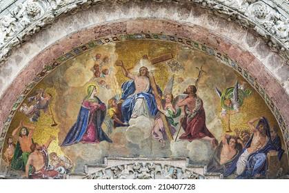 Religious miniature scene interior of temples in Venice