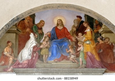 religious mural  in the Ospedale degli innocenti, in florence.