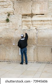 Religious orthodox Jew at the Western wall, Jerusalem, Israel