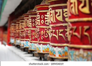 Religious prayer wheels in Bhutan