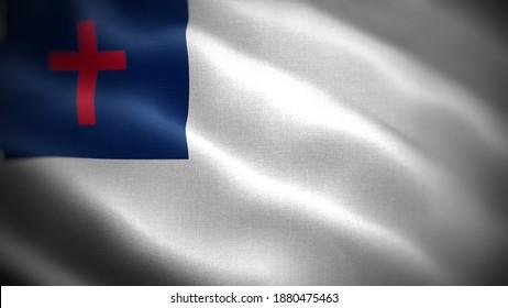 Religious symbols of Christian. Close up waving flag of Christian.