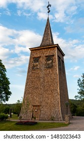 religious wooden tower in Sweden, region Dalarna nearby Fredriksberg