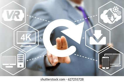 Reload media content. Update web cloud, internet, VR, 4K VIDEO TV, download, computing, mobile smart devices business concept. Businessman pressing circular arrow button to restart or initiate.
