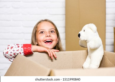 Relocating delivery services. Delivering happiness. Little child open post package with toys. Delivering happy moments to childhood. Insurance post package. Deliver your treasures. Storage for toys.