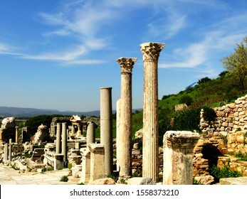 Remained Greek stylish columns in ancient Ephesus city in Selcuk. Efes is an UNESCO World Heritage Site and tourism attraction in Turkey.