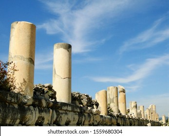 Remained historical building columns in ancient Ephesus city in Selcuk. Efes is an UNESCO World Heritage Site and tourism attraction in Turkey.
