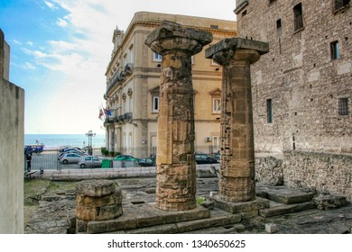 The remaining columns of the Temple of Poseidon (or Doric Temple) in Taranto, Puglia, Italy