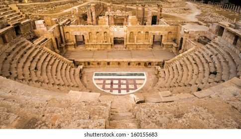 The remainings of an ancient amphitheater in the ruins of Roman Jerash in todays Jordan