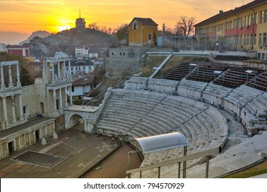 Remainings of Ancient Roman theatre of Philippopolis in Plovdiv at sunset, Aerial view of the roman amphitheater, Plovdiv, Bulgaria