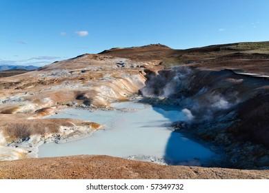The remainings of the Leirhnjukur Volcano in the Krafla region of Iceland