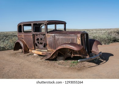 Remains of a 1932 Studebaker on the old U.S. Route 66 highway in Petrified Forest National Park in Arizona