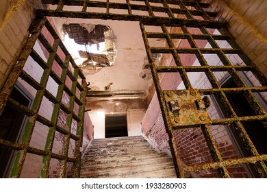 Remains of the abandoned prison of exile on the Greek island of Giaros in the archipelago of the Cyclades