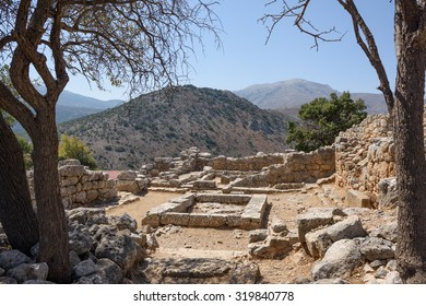 Remains of the ancient Greek city of Lato, near Kritsa, Crete, showing the site of its 2500-year-old Town Hall, with its central area for meetings.