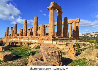 Remains of Ancient Greek Temples in Agrigento Sicily