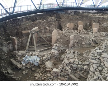 The remains of an ancient Neolithic sanctuary built on a hilltop. It is one of the oldest religious structures in the world. Gobeklitepe,Sanliurfa/Turkey 03.04.2018