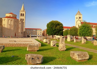 Remains of the ancient Roman forum on green meadow in Zadar, Croatia