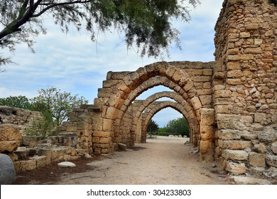remains of the archs over the main streets of the ancient city of Caesarea, built by the Crusaders during the Crusades, Israel