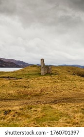 Remains of Ardvreck Castle (Loch Assynt, Highlands, Scotland). Ardvreck Castle was built in the latter half of the 15th century.