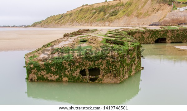 Remains of the artificial harbor at Arromanches-les-Bains