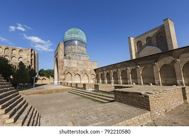 Remains of the Bibi Khanum Mosque and its blue dome, Samarkand, Uzbekistan.