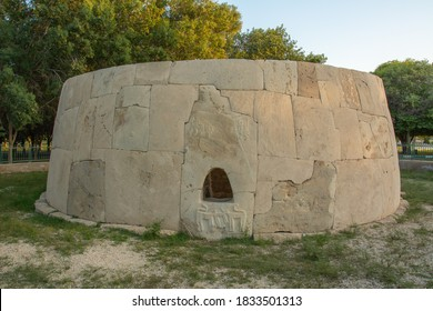 Remains of the Bronze Age round tomb with human and animal figures carved on it Hili Archaeological Site in Al Ain, Emirate of Abu Dhabi