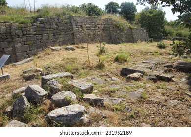 Remains of the buildings near the agora of Troy, possibly Priam's city of the Iliad, . Turkey