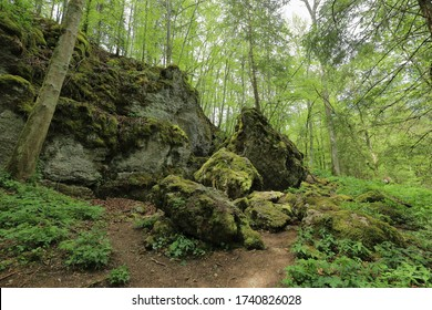 The remains of the Burkhardt Cave in the Swabian Alb which was blasted in spring 1945 by the Wehrmacht