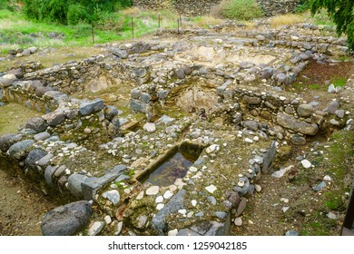 Remains of a Byzantine bathhouse, in Kursi National Park, Golan Heights, Northern Israel