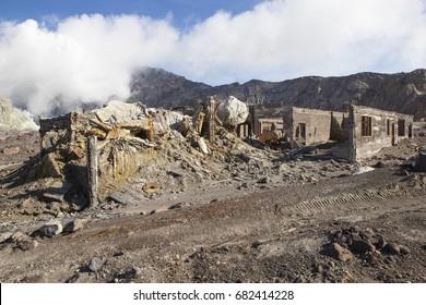 Remains of damaged housing