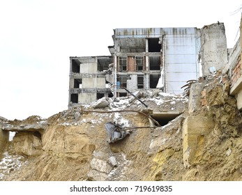 Remains of the destroyed industrial building.