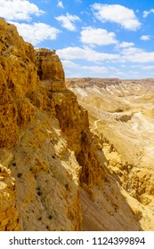 Remains of the fortress of Masada (now a national park), and landscape, on the eastern edge of the Judaean Desert, Southern Israel