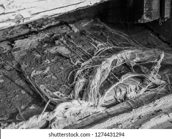 The remains of a fringed old carpet lie on a worn wooden floor.