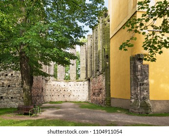 Remains of Gothic Church in Panensky Tynec Village. Czech Republic.
