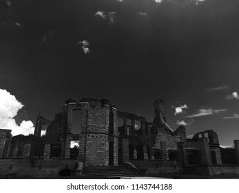The remains of a great building stand stubbornly against the backdrop of a perfect sky on a barrier island off the coast of Georgia