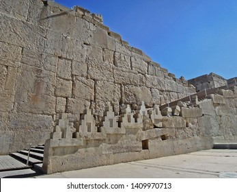 Remains of Great parade staircase at entrance to ancient Persian capital Persepolis. Width of stairs is enough for passage of King's chariot. Persepolis, near Shiraz, Iran