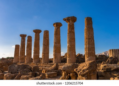 Remains of Heracles temple - Valle dei Templi located in Agrigento, Sicily. Unesco World Heritage Site.