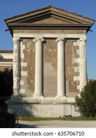 Remains of a little temple in the Forum Boarium, Rome, Italy