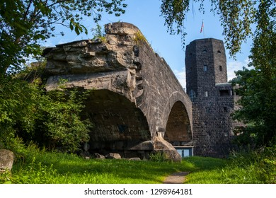 Remains of Ludendorff Bridge in Remagen.  The bridge was one of two remaining bridges across the Rhine and was captured during the Battle of Remagen in the closing weeks of World War 2 by US Forces.